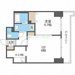ティアラタワー中島倶楽部(I) 8階1LDKの間取り