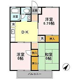 東京都羽村市羽東1丁目の賃貸アパートの間取り