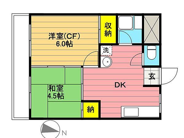 中村マンション[201号室]の間取り