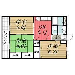 JR成田線 成田駅 バス15分 七栄四ツ角下車 徒歩1分の賃貸マンション 1階3DKの間取り