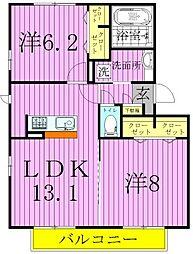 ワイスハイム[1階]の間取り
