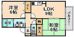 兵庫県伊丹市北本町2丁目の賃貸アパートの間取り