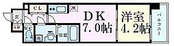 レオンコンフォート梅田北 8階1DKの間取り