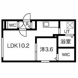 札幌市電2系統 西線9条旭山公園通駅 徒歩4分の賃貸マンション 1階1LDKの間取り