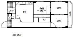 ニュウグランド北野ハウス[3階]の間取り