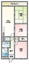 京阪本線 寝屋川市駅 徒歩9分の賃貸マンション 2階3LDKの間取り