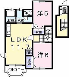 グリーンコート 2階2LDKの間取り