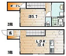 [タウンハウス] 福岡県北九州市小倉北区三郎丸2丁目 の賃貸【/】の間取り