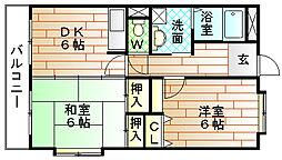 福岡県宗像市土穴3丁目の賃貸マンションの間取り
