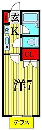 埼玉県越谷市大字西方の賃貸アパートの間取り