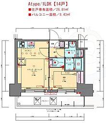 プレサンス兵庫駅前 14階1LDKの間取り
