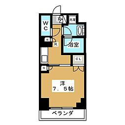 Brillia ist 元浅草 3階1Kの間取り