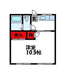 篠栗第一コーポB[202号室]の間取り