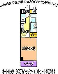 ミルエトワール 8階1Kの間取り
