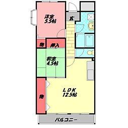 京阪本線 西三荘駅 徒歩19分の賃貸マンション 4階2LDKの間取り
