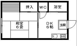 コーポ原田[1C号室]の間取り