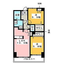 アビタシオンシエル[4階]の間取り