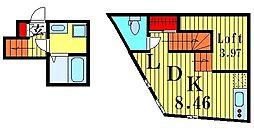 ウェルプレイス駒込 3階ワンルームの間取り