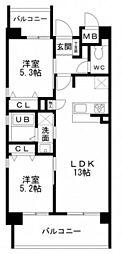 広島高速交通アストラムライン 広域公園前駅 徒歩35分の賃貸マンション 4階2LDKの間取り
