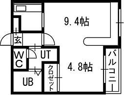 ホークメゾン札幌2号館[00311号室]の間取り