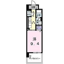 JR身延線 常永駅 徒歩18分の賃貸マンション 2階1Kの間取り