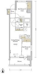都営新宿線 菊川駅 徒歩7分の賃貸マンション 6階2LDKの間取り
