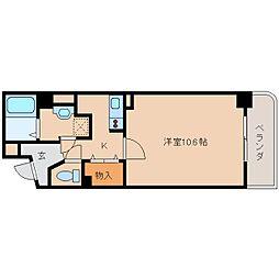 近鉄大阪線 大和八木駅 徒歩4分の賃貸マンション 3階1Kの間取り