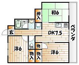 福岡県北九州市若松区古前1の賃貸マンションの間取り