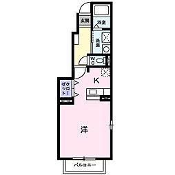 神奈川県秦野市鶴巻の賃貸アパートの間取り
