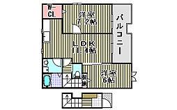 メゾン・ド・カルム1[203号室]の間取り