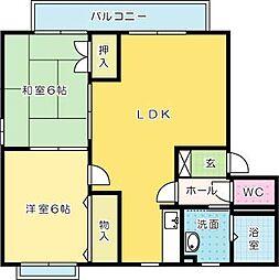 福岡県北九州市小倉南区湯川4丁目の賃貸アパートの間取り