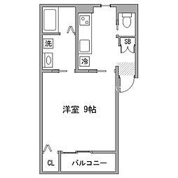 名鉄名古屋本線 東岡崎駅 徒歩9分の賃貸アパート 2階1Kの間取り