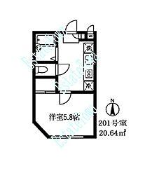 東京都目黒区碑文谷5丁目の賃貸アパートの間取り