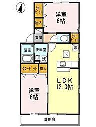 広島県廿日市市大野中央5丁目の賃貸アパートの間取り
