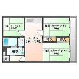 北海道札幌市東区北四十一条東12丁目の賃貸マンションの間取り