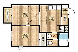 サニープレイスA[2階]の間取り