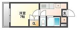 JR赤穂線 西川原駅 徒歩3分の賃貸マンション 2階1Kの間取り