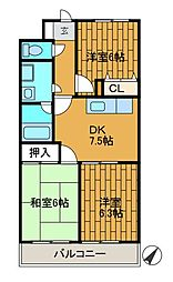 神奈川県相模原市中央区千代田3丁目の賃貸マンションの間取り