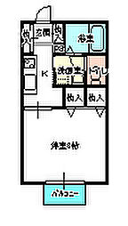 茨城県水戸市文京1丁目の賃貸アパートの間取り