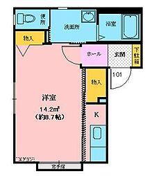 ミュゼ広面 2階ワンルームの間取り