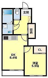 名鉄豊田線 黒笹駅 徒歩26分の賃貸アパート 1階1DKの間取り