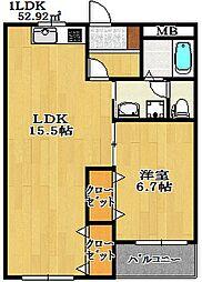 エスポアール海神NO2[2階]の間取り