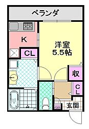 大阪府大阪市平野区加美鞍作3丁目の賃貸アパートの間取り