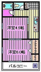 塚越ハイツ[202号室]の間取り