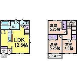 [一戸建] 栃木県鹿沼市上殿町 の賃貸【/】の間取り