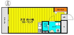 東京メトロ有楽町線 要町駅 徒歩4分の賃貸マンション 2階ワンルームの間取り