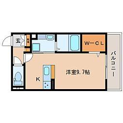 JR東海道本線 静岡駅 徒歩9分の賃貸アパート 2階ワンルームの間取り