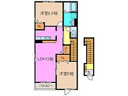 三重県津市高茶屋4の賃貸アパートの間取り