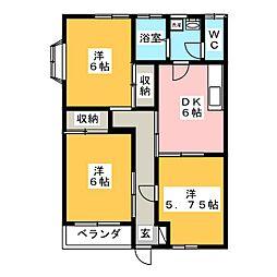 エーデルハイムK&H[1階]の間取り