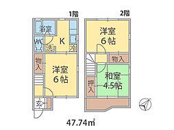 千葉県鎌ケ谷市丸山の賃貸アパートの間取り
